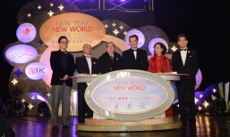 Launching the New Year.New World – Hong Kong Countdown Celebrations are C Y Leung, Chief Executive of the HKSAR and Mrs Leung (third right and second right), Gregory So, Secretary for Commerce and Economic Development of the HKSAR (far right), Dr Peter La